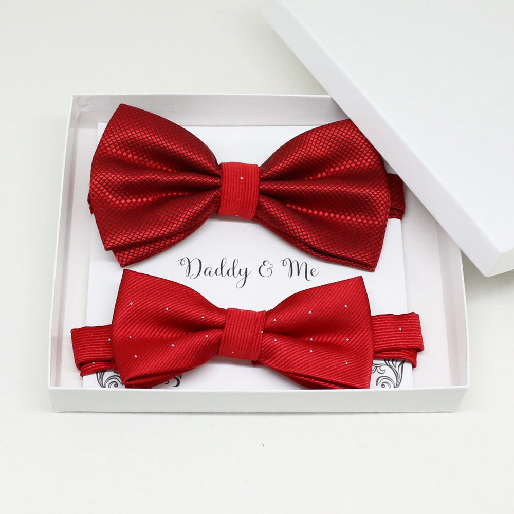 Red Bow tie set for daddy and son, Daddy and me gift set, Grandpa and me, Father son matching, Toddler bow tie, daddy and me bow tie gift
