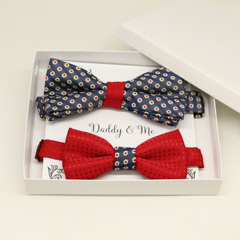 Navy Red Bow tie set for daddy and son, Daddy and me gift set, Grandpa and me, Father son matching, Toddler bow tie, daddy me gift, Flower