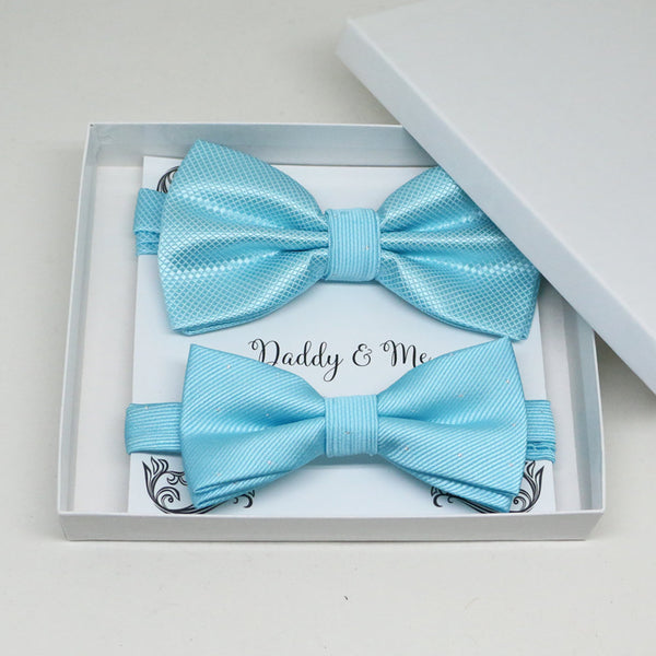 Blue Bow tie set for daddy and son, Daddy and me gift set