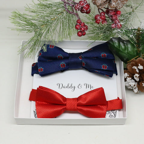 Navy Red Bow tie set for daddy and son, Daddy me gift set, Ladybug, lucky bow, Father son matching, Toddler bow tie, daddy me bow tie gift