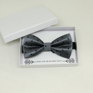 Charcoal black bow tie, Best man request gift, Groomsman bow tie, Man of honor gift, Best man bow tie, best man gift, man of honor request