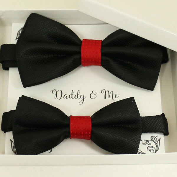 Black red Bow tie set for daddy and son, Daddy and me gift set, Grandpa and me, Father son matching, Toddler bow tie, daddy me bow tie gift