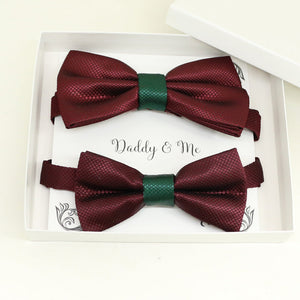 Burgundy Emerald Green Bow tie set for daddy and son, Daddy and me gift set, Grandpa and me, Father son match, Toddler bow tie, daddy me bow