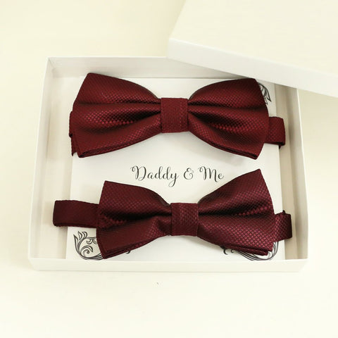 Burgundy Bow tie set for daddy and son