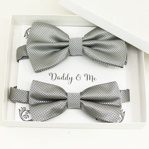 Silver Bow tie set for daddy and son, Daddy me gift set, Grandpa and me, Father son matching, Toddler bow tie, daddy me bow tie gift