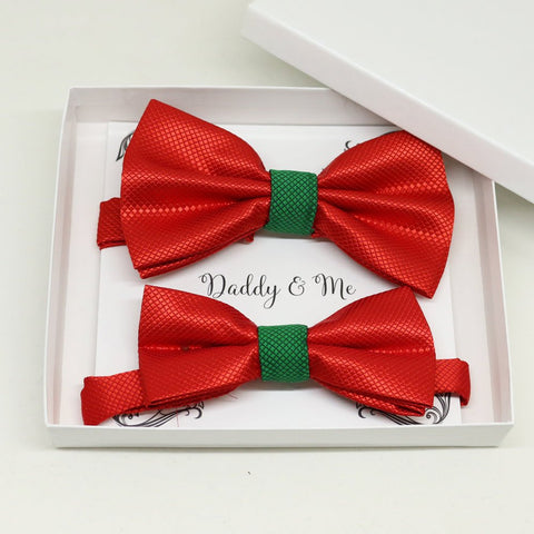 Red green Bow tie set for daddy and son, Daddy me gift set, Grandpa and me, Father son matching, Toddler bow tie, daddy me bow, Red and Green bow