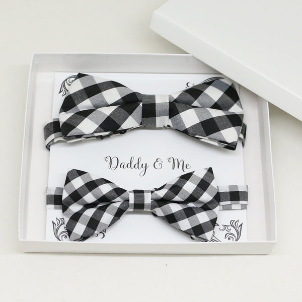 Black white Bow tie set for daddy and son, Daddy me gift set, Grandpa and me, Father son matching, Toddler bow tie, daddy me bow tie gift