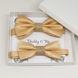 Champagne burlap Purple Bow tie set for daddy and son, Daddy me gift set, Grandpa and me, Father son matching, Toddler bow tie, daddy me bow