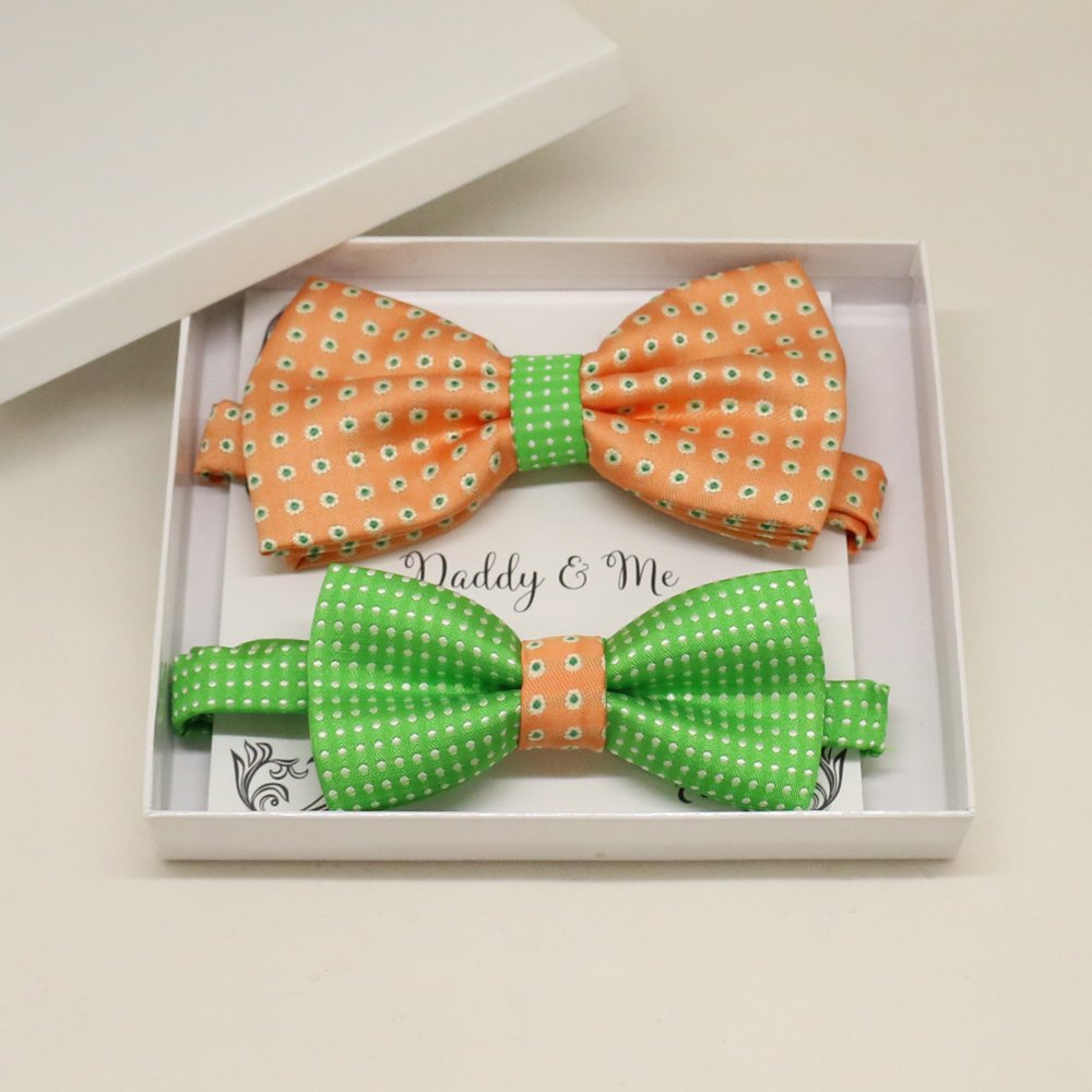 Peach Green Bow tie set for daddy and son, Daddy and me gift set, Grandpa me, Father son matching, Toddler bow tie, daddy me bow tie