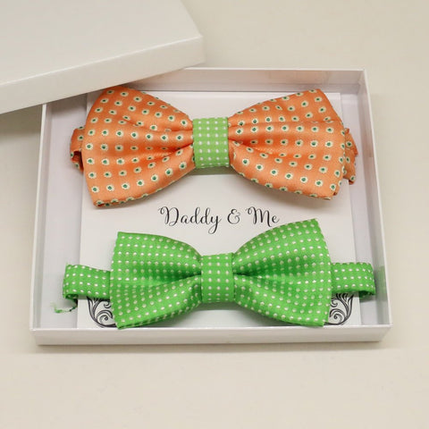 Peach Green Bow tie set for daddy and son, Daddy and me gift set, Grandpa and me, Father son matching, Toddler bow tie, daddy and me bow tie