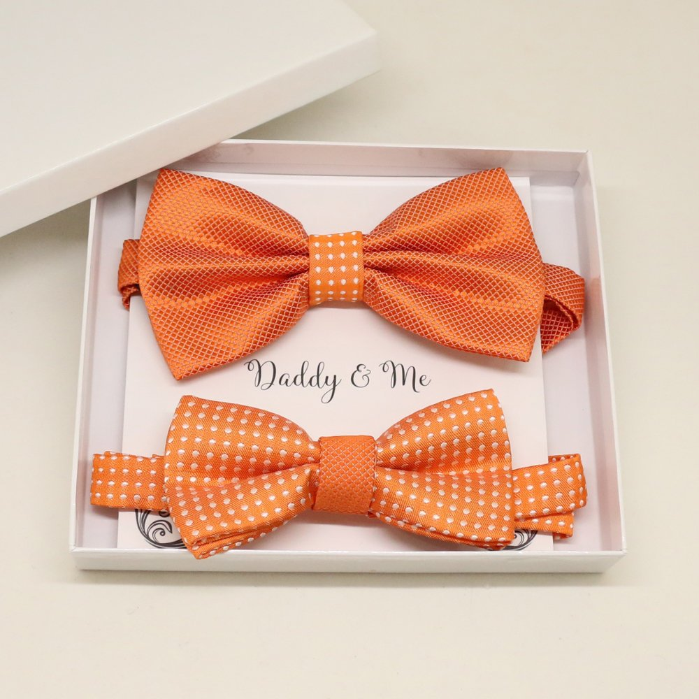 Orange Bow tie set for daddy and son, Daddy me gift set, Grandpa and me, Father son matching, Toddler bow tie, daddy me bow tie, wedding