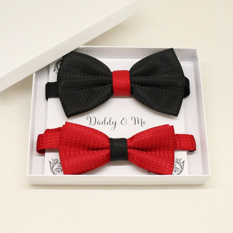 Red black Bow tie set for daddy and son, Daddy me gift set