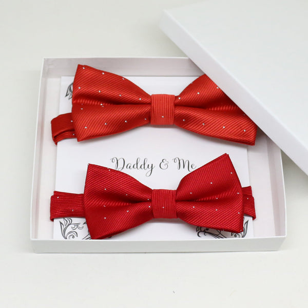 Red Bow tie set for daddy and son, Daddy me gift set, Grandpa and me, Father son matching, Toddler bow tie, daddy me bow tie gift