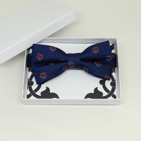 Navy Red lady bug bow tie, Best man request gift, Groomsman bow tie, Man of honor gift, Best man bow tie, best man gift, Lucky bow, thankyou