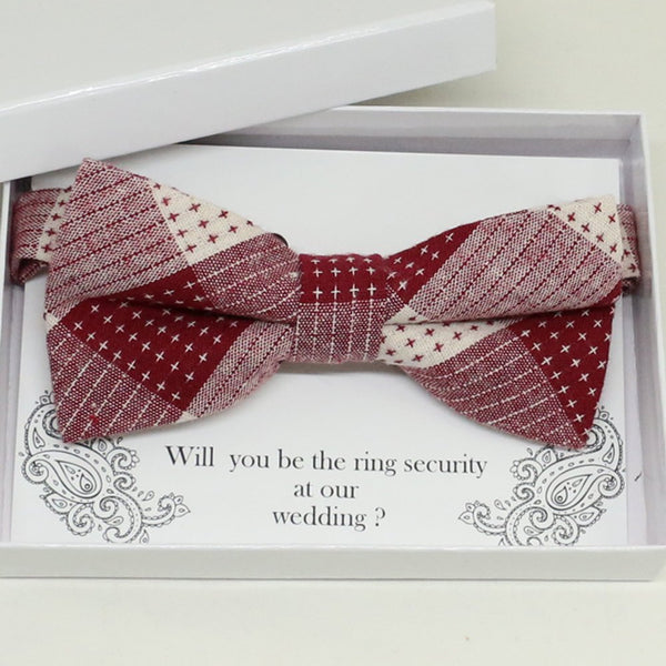 Plaid red bow tie, Best man request gift, Groomsman bow tie, Man of honor gift, Best man bow tie, best man gift, man of honor request bow