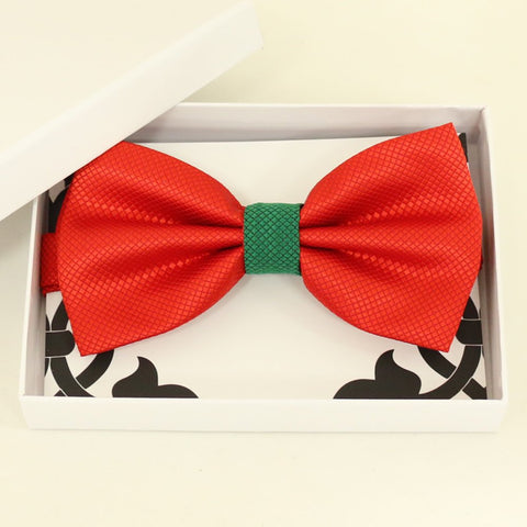 Red Green bow tie, Best man request gift, Groomsman bow tie, Ring Bearer bow, Man of honor gift, baby announcement, toddler bow, handmade