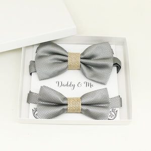 Silver burlap Bow tie set for daddy and son, Daddy me gift set, Grandpa and me, Father son matching, Toddler bow tie, daddy me bow tie gift