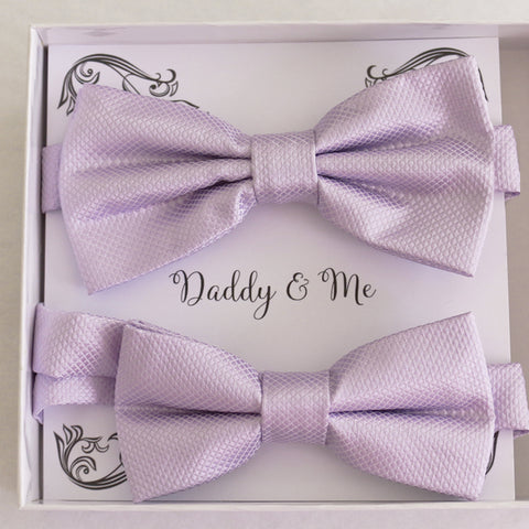 Lilac  Bow tie set for daddy and son Daddy me gift set Father son match Handmade Lilac kids bow Adjustable pre tied bow