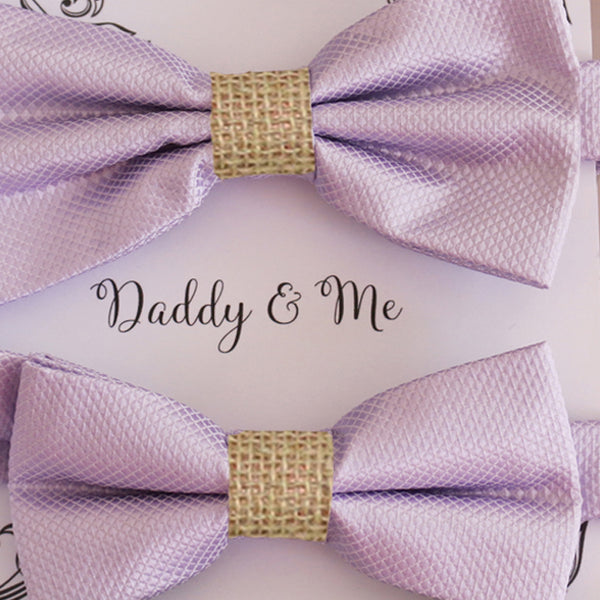 Lilac burlap Bow tie set for daddy and son Daddy me gift set Father son match Handmade Lilac kids bow Adjustable pre tied bow