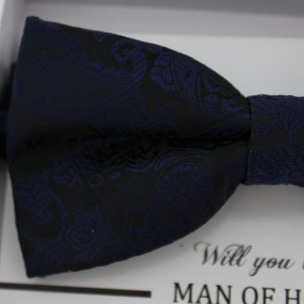 Navy bow tie, Paisley bow tie, Best man request gift, Groomsman bow tie, Man of honor gift, Best man bow tie, man of honor, Thank you