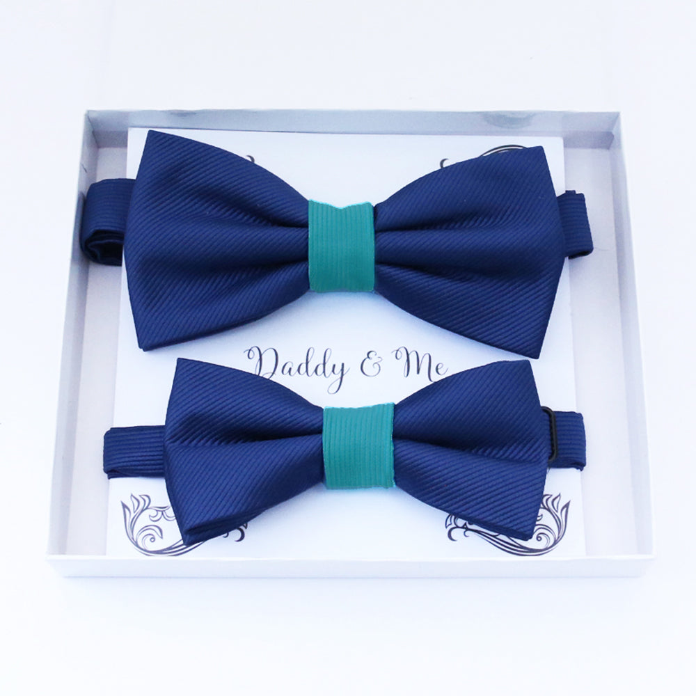 Navy Turquoise Bow tie set daddy son, Daddy Grandpa and Me Father son matching, Kids adult bow tie, Adjustable Pre tied bow High quality