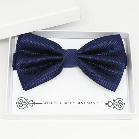 Navy bow tie Best man Groomsman Man of honor ring bearer request gift, Kids adult bow, Adjustable Pre tied High quality, Birthday Congrats