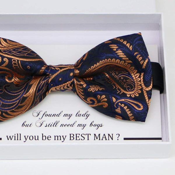 Navy rose Gold bow tie, Best man request gift, Groomsman bow tie, Man of honor gift, Best man bow tie, man of honor, Paisley Rose gold bow