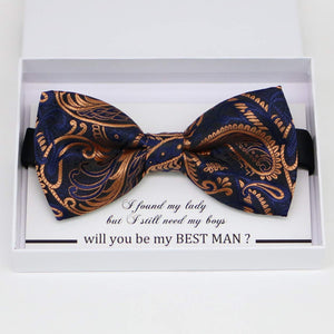 Paisley Navy Gold bow tie, Best man request gift, Groomsman bow tie, Man of honor gift, Best man bow, best man gift, man of honor request,Rose gold