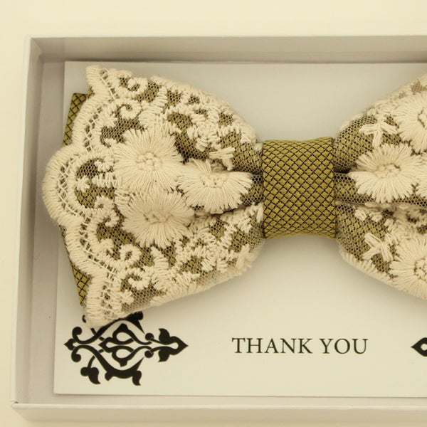 Olive Green lace bow tie, Handmade lace bow tie, Thank you gift, Pre-Tied Bow Tie, best man bow tie, ring bearer bow tie gift