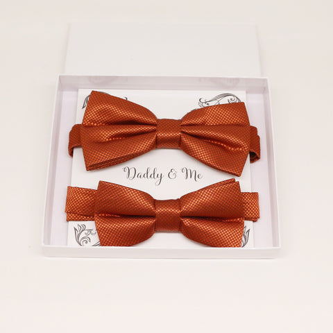 Rust Bow tie set for daddy and son, Daddy me gift set, Grandpa and me, Father son matching bow, Rust bow tie for kids, Rust wedding theme
