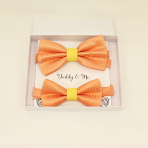 Orange Yellow Bow tie set for daddy and son, Daddy and me bow tie gift set, Grandpa me, Orange yellow Kids bow, Orange and Yellow, handmade