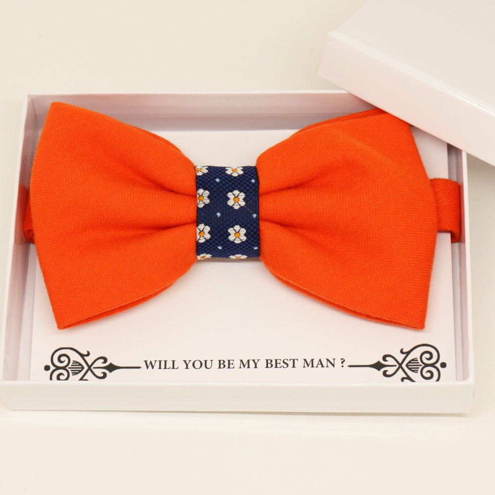 Orange bow tie, Best man request gift, Groomsman bow tie, Man of honor gift, Best man bow tie, best man gift, Ring bearer request, Thank you
