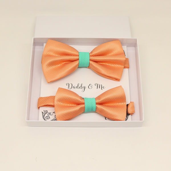 Orange turquoise Bow tie set for daddy and son, Daddy and me bow tie gift set, Grandpa me, Orange turquoise Kids bow, Orange and turquoise