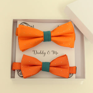 Teal blue and orange Bow tie set for daddy and son, Daddy me gift set, Father son matching, daddy me bow, Handmade bow, teal blue and orange