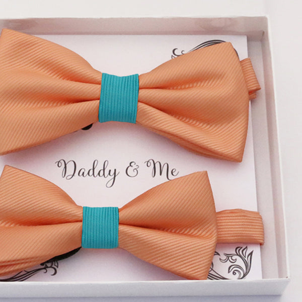 Peach turquoise Bow tie set daddy son, Daddy and me gift, Grandpa and me, Father son matching, Kids bow tie, Kids adult bow tie, high quality