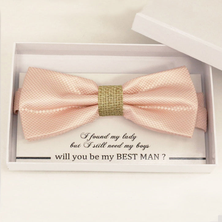 Pearl blush bow tie Best man Groomsman Man of honor Ring Bearer bow tie request gift, Kids bow Birthday congrats cards, Adjustable Pre tied