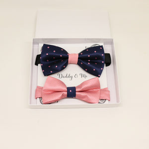 Navy Dusty rose Bow tie set for daddy and son, Daddy me gift set, Grandpa gift, Father son match, Kids adult bow, Navy and dusty rose bow