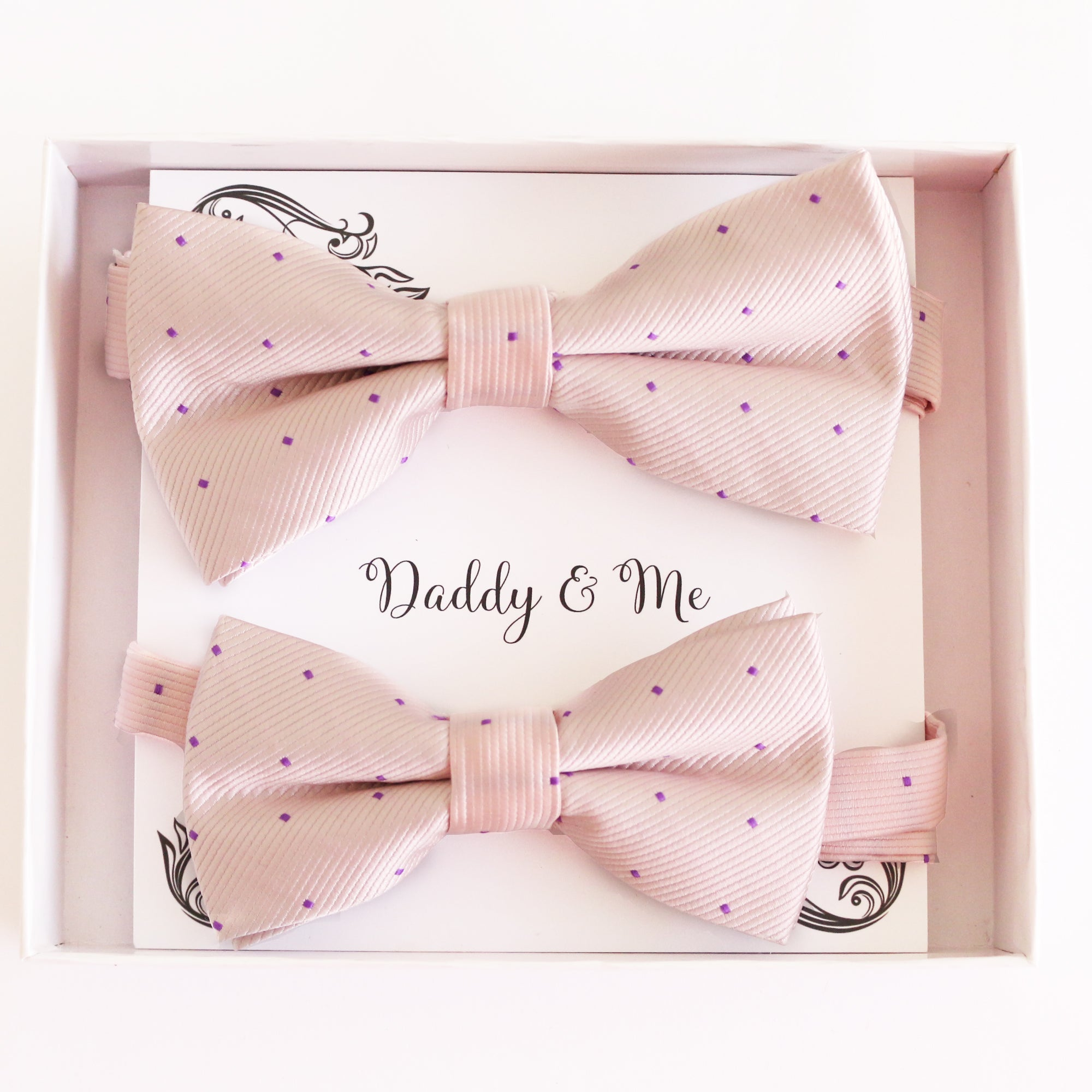 Soft pink Bow tie set Kids Adult bow tie Daddy me Father son match, kids bow Adjustable pre tied, High quality