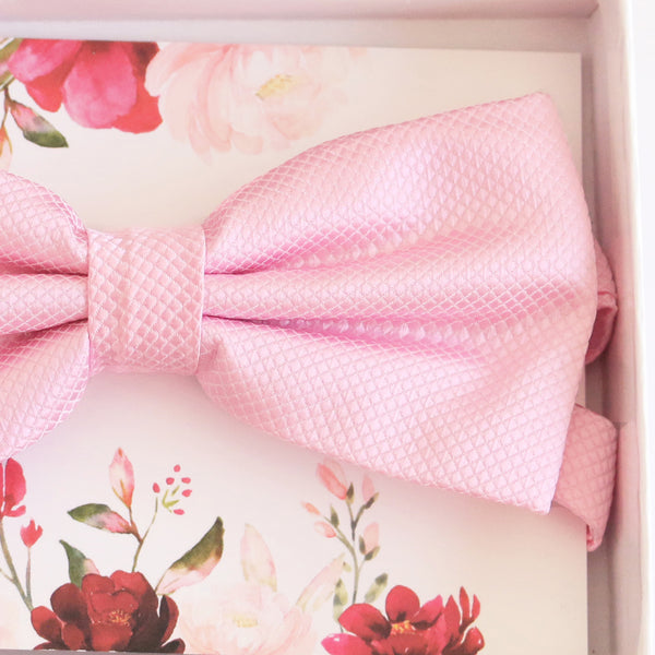 Soft pink bow tie Best man Groomsman Man of honor ring bearer request Birthday gift, Pink Kids adult bow, Adjustable Pre tied