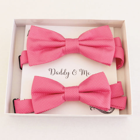 Pink Bow tie set daddy son Daddy and me gift Grandpa and me Kids adult bow tie Adjustable pre tied bow, Handmade, Daddy son gift set