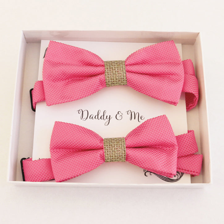 Pink burlap Bow tie set for daddy and son Daddy me gift set Father son match Handmade Pink kids bow Adjustable pre tied bow