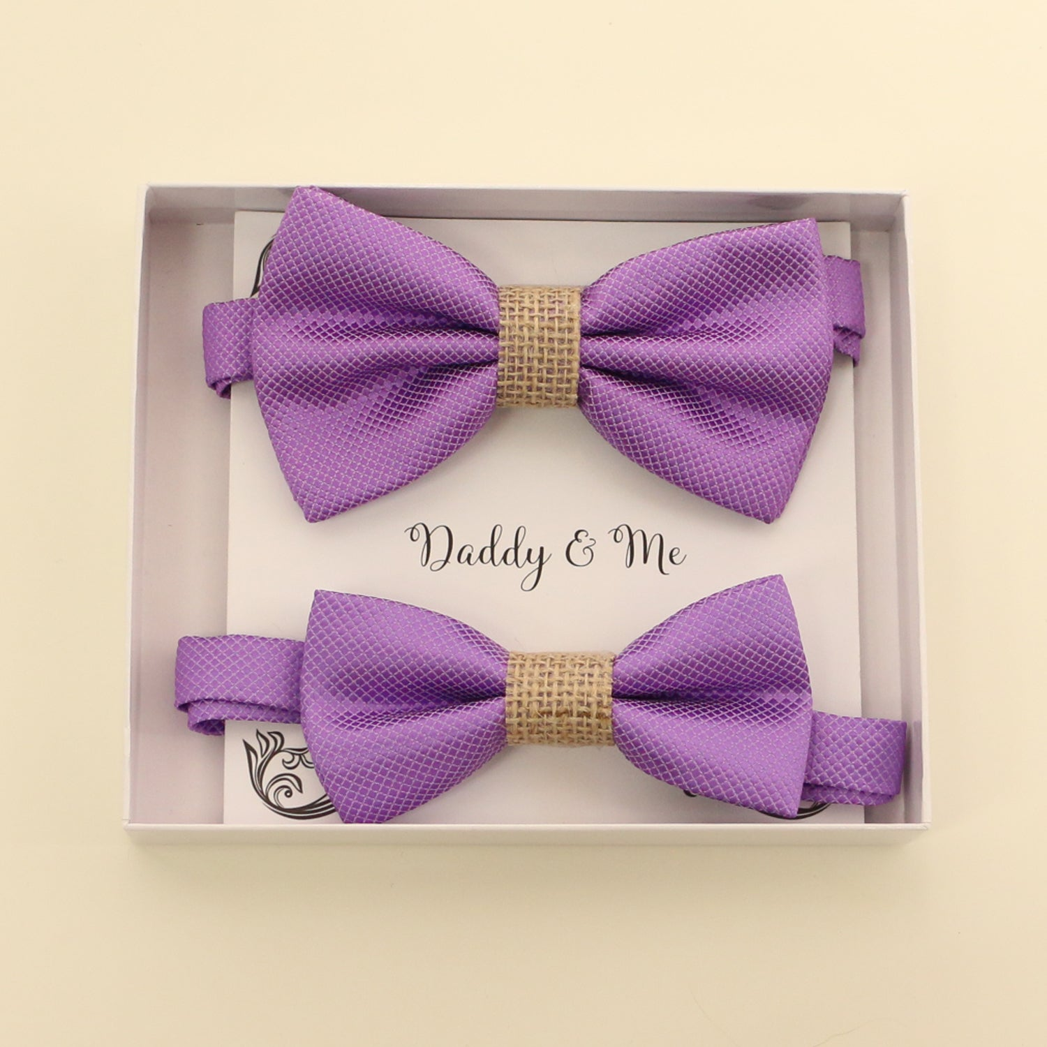 Lavender burlap Bow tie set for daddy and son, Daddy me gift set, Grandpa and me, Father son match, lavender bow for kids bow tie, handmade