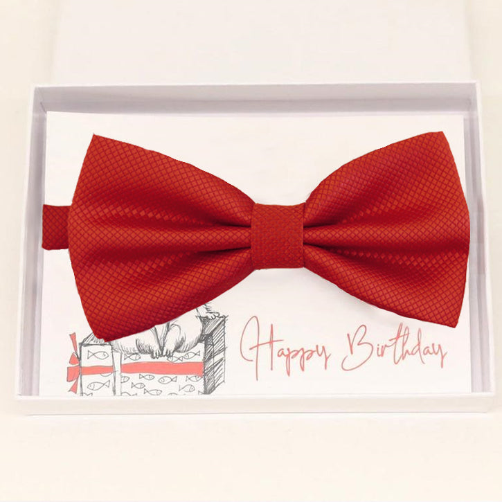 Red bow tie Best man Groomsman Man of honor Ring Bearer bow tie request gift, Kids bow tie, Birthday congrats cards