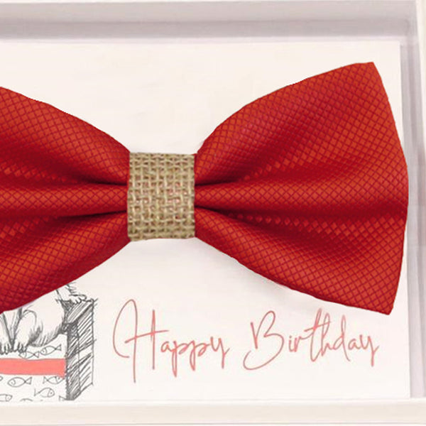 Red bow tie Best man Groomsman Man of honor Ring Bearer bow tie request gift, Red bulrap Kids bow tie, Birthday congrats cards handmade bow