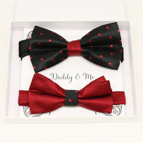 Black and red Bow tie set for daddy and son, Daddy me gift set, Grandpa and me, Father son match, Black and red polka dots bow, Red kids bow