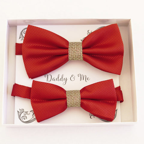 Red burlap Bow tie set for daddy and son, Daddy me gift set, Grandpa and me, Father son match, Red bow for kids bow tie, handmade bow tie