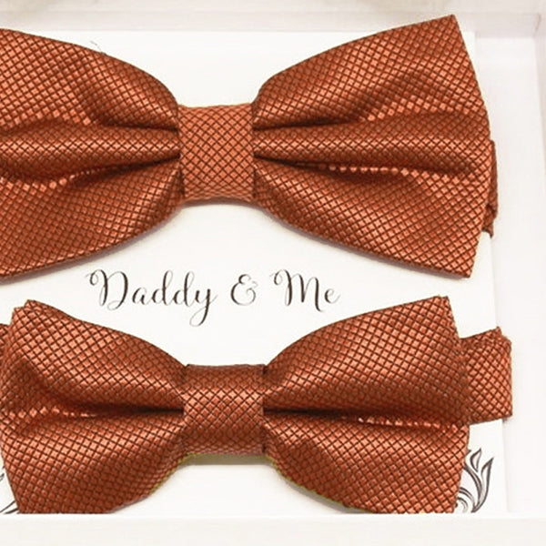 Rust copper Bow tie set for daddy son Daddy me gift set Father son match daddy me bow Handmade kids bow Adjustable pre tied bow