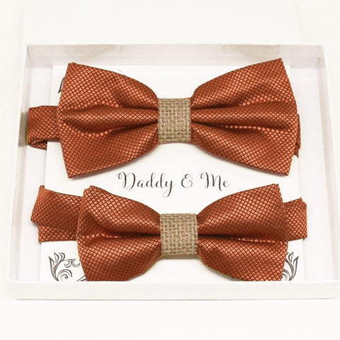 Rust copper burlap Bow tie set for daddy and son Daddy me gift set Father son match Handmade kids bow Adjustable pre tied bow