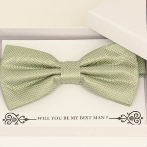 Sage green bow tie Best man Groomsman Man of honor Ring Bearer bow tie request gift, Kids bow Birthday congrats cards, Adjustable Pre tied