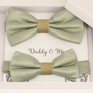 Sage green burlap Bow tie set for daddy and son, Daddy me gift set, Grandpa and me, Father son matching, Toddler bow tie, daddy me bow tie